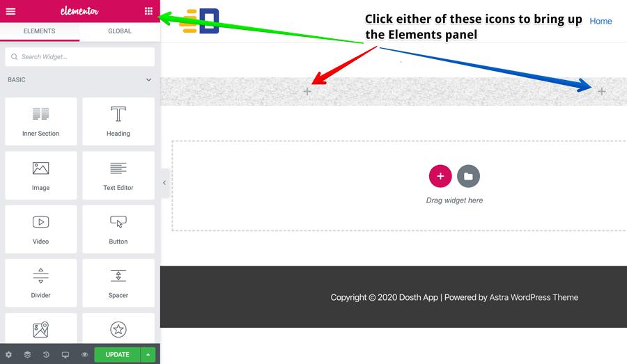Ways to bring up the Elementor widgets