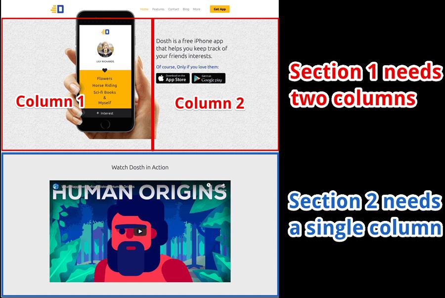 Elementor columns demonstration