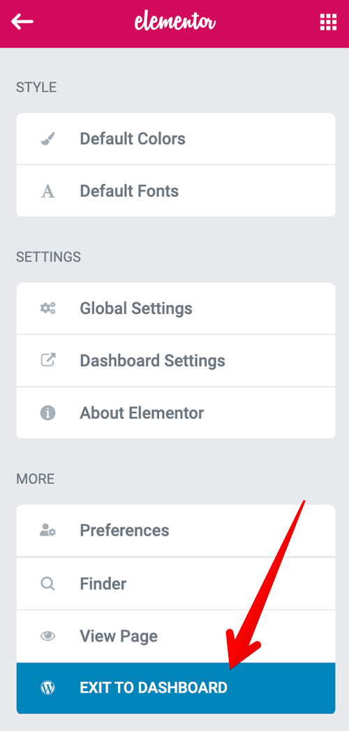 Elementor Exit to dashboard option