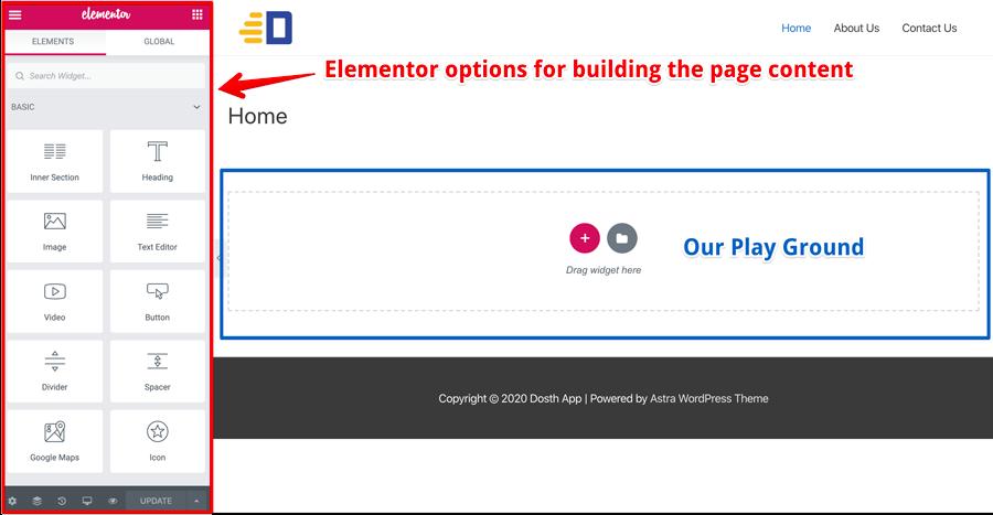 Elementor Interface