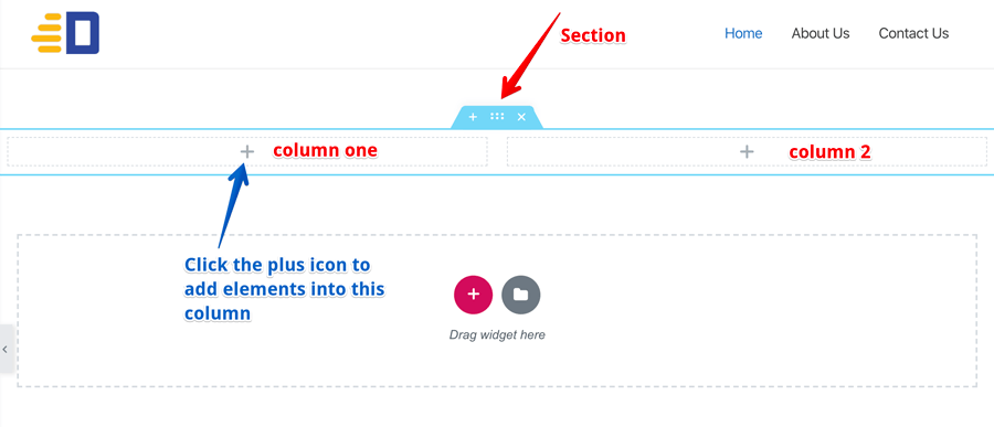 Elementor new section with two columns