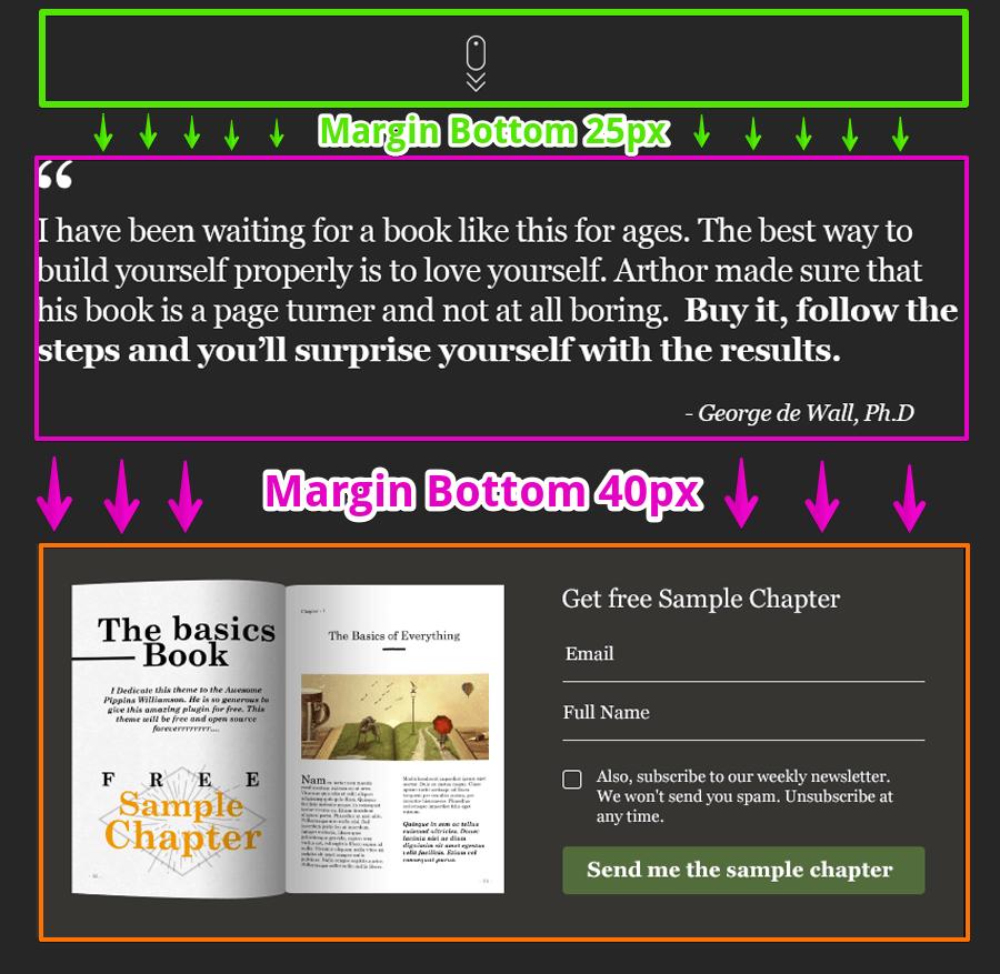 Demonstration of margin bottom