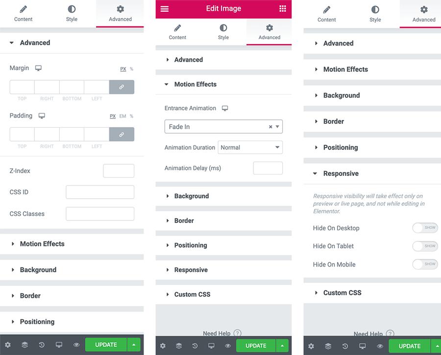 Elementor Advanced tab