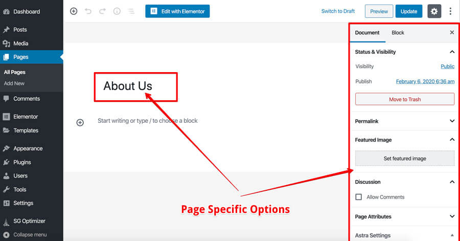 WordPress default page options
