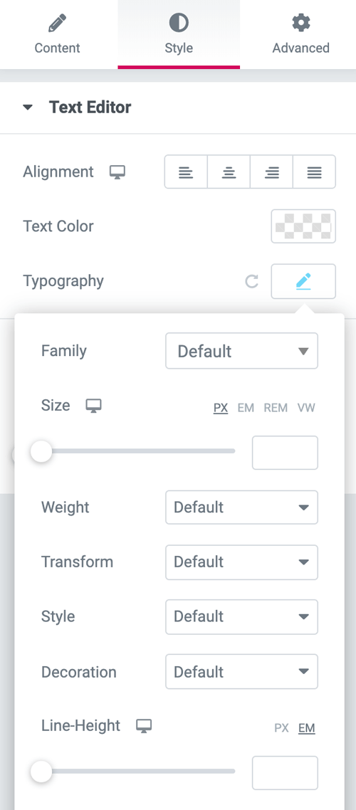 Text element style tab