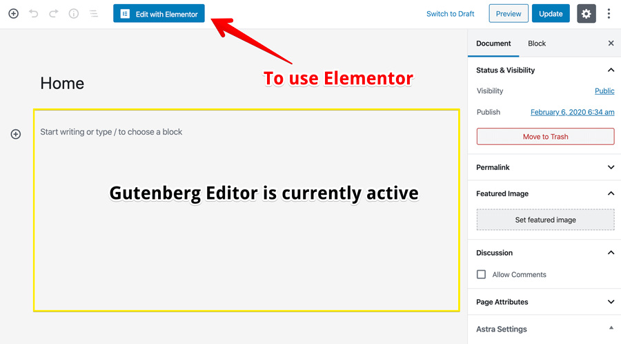 Gutenberg is the currently active editor
