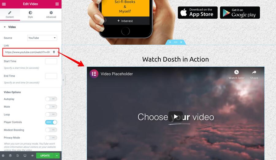 Elementor video element Link option